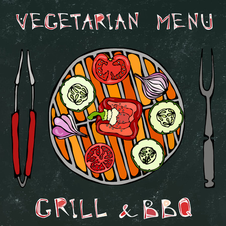 Black Board Background. Vegetarian Grill. Vegetable BBQ. Picnic and Barbeque Appliances Tongs and Fork. Tomato, Bell Pepper, Onion, Garlic and Zucchini.Hand Drawn Illustration. Savoyar Doodle Style Vectores