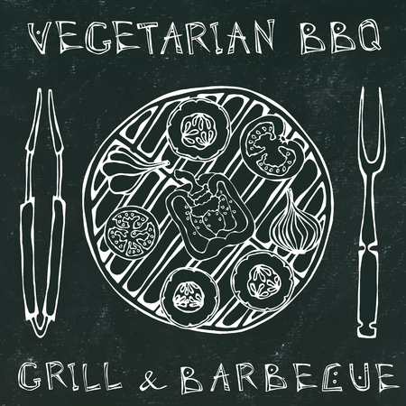 Black Board Background. Vegetarian Grill. Vegetable BBQ. Picnic and Barbeque Appliances Tongs and Fork. Tomato, Bell Pepper, Onion, Garlic and Zucchini.Hand Drawn Illustration. Savoyar Doodle Style Stock Illustratie