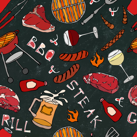 Seamless Pattern of Summer BBQ Grill Party. Glass of Red, White VineSteak, Sausage, Barbeque Grid, Tongs, Fork. Black Board Background and Chalk. Hand Drawn Vector Illustration. Savoyar Doodle Style