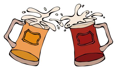 Light and Dark Beer Mugs or Glasses. Hand Drawn Vector Illustration. Savoyar Doodle Style