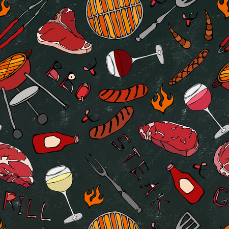 Seamless Pattern of Summer BBQ Grill Party. Glass of Red, Rose and White Vine, Steak, Sausage, Barbeque Grid. Black Board Background and Chalk. Hand Drawn Vector Illustration. Savoyar Doodle Style
