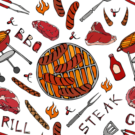 Seamless Pattern of Summer BBQ Grill Party. Big Sausages, Barbeque Grid, Tongs, Fork, Fire, Ketchup. Hand Drawn Vector Illustration. Savoyar Doodle Style