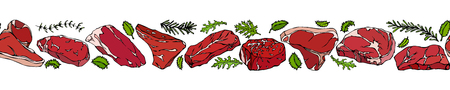 Ribbon of of Popular Steak Types.Steak House Restaurant Menu. Hand Drawn Illustration. Savoyar Doodle Style. Porterhouse, T-bone, New York Strip, Rib Eye