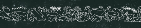 Black Board Background and Chalk. Ribbon of of Popular Steak Types.Steak House Restaurant Menu. Hand Drawn Illustration. Savoyar Doodle Style. Porterhouse, T-bone, New York Strip, Rib Eye