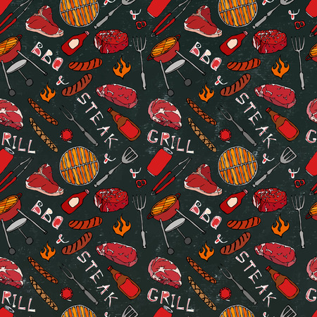 Seamless Pattern of Summer BBQ Grill Party. Steak, Sausage, Barbeque Grid, Tongs, Fork, Fire, Ketchup. Black Board Background and Chalk. Hand Drawn Vector Illustration. Savoyar Doodle Style Illustration