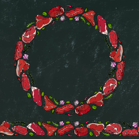 Black Board Background and Chalk. Wreath Round Frame of Popular Steak Types. Steak House Restaurant Menu. Hand Drawn Illustration. Savoyar Doodle Style. Porterhouse, T-bone, New York Strip, Rib Eye