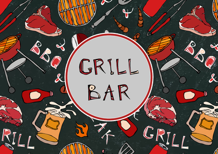 Grill Bar. BBQ and Grill. Seamless Pattern of Summer BBQ Grill Party. Beer, Steak, Sausage, Barbeque Grid, Tongs, Fork. Black Board Background and Chalk. Hand Drawn Vector Illustration. Savoyar Doodle Style Ilustração