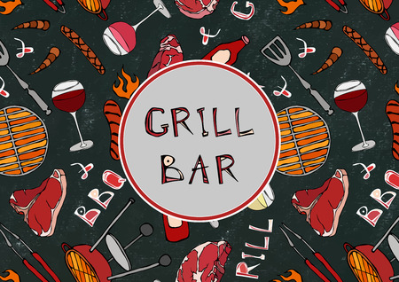 Grill and Bar. Seamless Pattern of Summer BBQ Grill Party. Glass Red, Rose White Vine, Steak, Sausage, Barbeque. Black Board Background and Chalk. Hand Drawn Vector Illustration. Savoyar Doodle Style Illustration