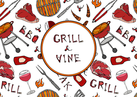 Grill and Vine. Seamless Pattern of Summer BBQ Grill Party. Glass of Red, Rose, White Vine, Steak, Sausage, Barbeque Grid, Tongs, Fork, Ketchup. Hand Drawn Vector Illustration. Savoyar Doodle Style Ilustração