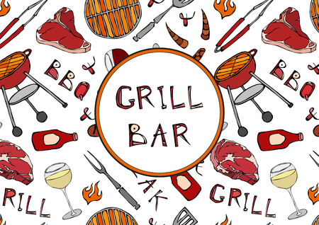 Grill Bar. Seamless Pattern of Summer BBQ Grill Party. Glass of Red, Rose, White Vine, Steak, Sausage, Barbeque Grid, Tongs, Fork, Fire, Ketchup. Hand Drawn Vector Illustration Savoyar Doodle Style