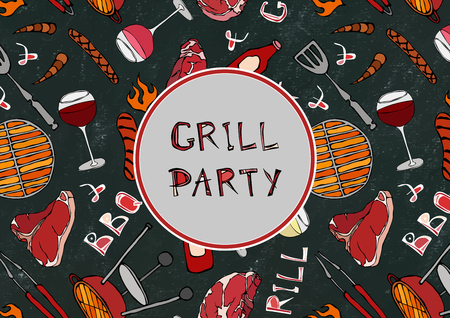 Grill Party. Seamless Pattern of Summer BBQ Grill Party. Glass Red, Rose White Vine, Steak, Sausage, Barbeque. Black Board Background and Chalk. Hand Drawn Vector Illustration. Savoyar Doodle Style Illustration