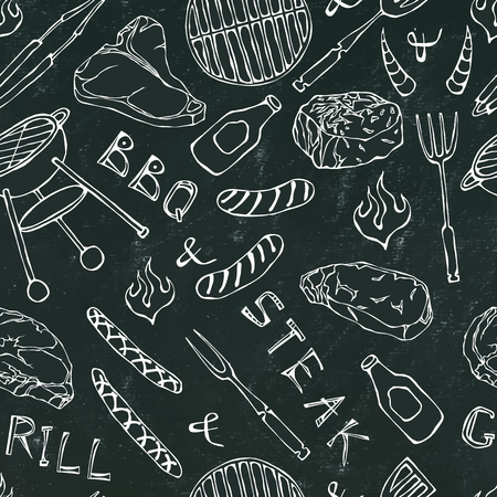 Seamless Pattern of Summer BBQ Grill Party. Steak, Sausage, Barbeque Grid, Tongs, Fork, Fire, Ketchup. Black Board Background and Chalk. Hand Drawn Vector Illustration. Cute Doodle Style