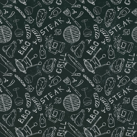Seamless Pattern of Summer BBQ Grill Party. Steak, Sausage, Barbeque Grid, Tongs, Fork, Fire, Ketchup. Black Board Background and Chalk. Hand Drawn Vector Illustration. Doodle Style