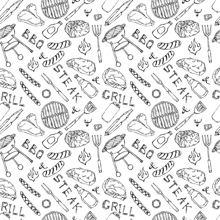 Seamless Pattern of Summer BBQ Grill Party. Beer Can, Bottle and Mug, Steak, Sausage, Barbeque Grid, Tongs, Fork, Fire, Ketchup. Hand Drawn Vector Illustration Doodle Style