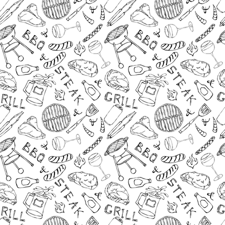 Seamless Pattern of Summer BBQ Grill Party. Glass of Red, White Wine, Steak, Sausage, Barbeque Grid, Tongs, Fork. Hand Drawn Vector Illustration. Doodle Style