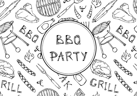 Seamless Pattern of Summer BBQ Grill Party. Steak, Sausage, Barbeque Grid, Tongs, Fork, Fire, Ketchup. Hand Drawn Vector Illustration. Doodle Style