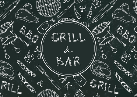 Grill Bar. Seamless Pattern of Summer BBQ Grill Party. Beer, Steak, Sausage, Barbeque Grid, Tongs, Fork, Fire. Black Board Background and Chalk. Hand Drawn Vector Illustration Doodle Style
