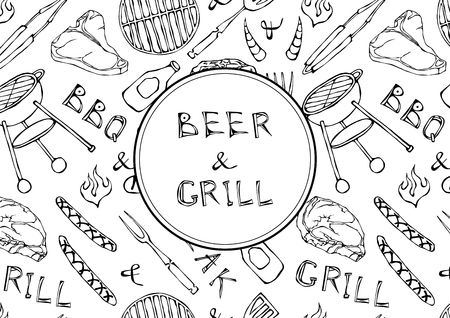 Seamless Pattern of Summer BBQ Grill Party. Beer, Steak, Sausage, Barbeque Grid, Tongs, Fork, Fire, Ketchup. Hand Drawn Vector Illustration Doodle Style