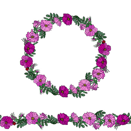 Round Frame and Endless Brush with Wild Roses. Summer Flowers Greeting Card or Wedding Background. Hand Drawn Illustration. Doodle Style 일러스트