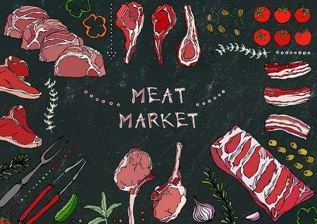 Meat Market. Meat Cuts - Beef, Pork, Lamb, Steak, Boneless Rump, Ribs Roast, Loin and Rib Chops. Tomato, Olives, Bell Pepper, Onion,Garlic Herbs Fork Tongs Black Board Background and Chalk
