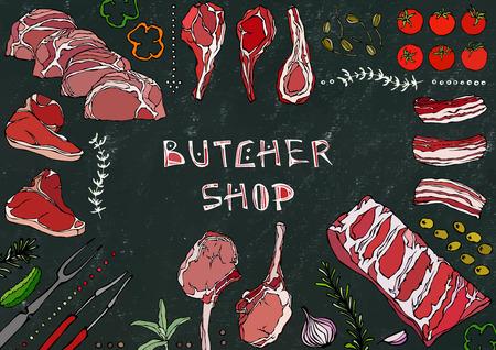 Butcher Shop. Meat Cuts - Beef, Pork, Lamb, Steak, Boneless Rump, Ribs Roast, Loin and Rib Chops. Tomato, Olives, Bell Pepper, Onion,Garlic Herbs Fork Tongs Black Board Background and Chalk