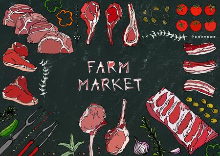 Farm Market. Meat Cuts - Beef, Pork, Lamb, Steak, Boneless Rump, Ribs Roast, Loin and Rib Chops. Tomato, Olives, Bell Pepper, Onion,Garlic Herbs Fork Tongs Black Board Background and Chalk