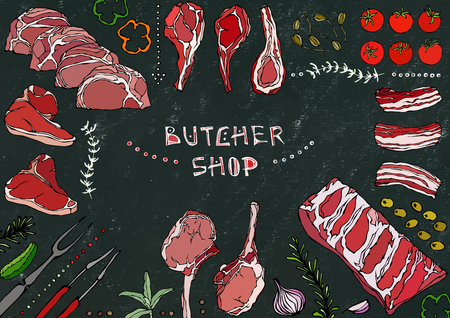 Butcher Shop. Meat Cuts - Beef, Pork, Lamb, Steak, Boneless Rump, Ribs Roast, Loin and Rib Chops. Tomato, Olives, Bell Pepper, Onion,Garlic Herbs Fork Tongs Black Board Background and Chalk