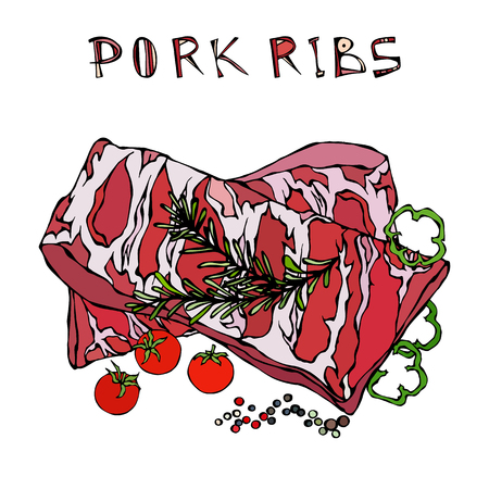 Pork Ribs with Rosemary Herb, Pepper, Bell Pepper and Tomato. Meat Guide for Butcher Shop or Steak House Restaurant Menu. Hand Drawn Illustration. Doodle Style
