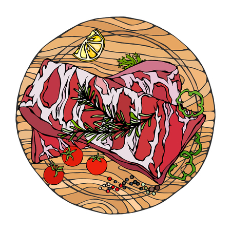 Pork Ribs with Rosemary Herb, Pepper, Lemon, Bell Pepper and Tomato. On a Round Wooden Cutting Board. Meat Guide for Butcher Shop or Steak House Restaurant Menu. Hand Drawn Illustration. Doodle Style Illustration