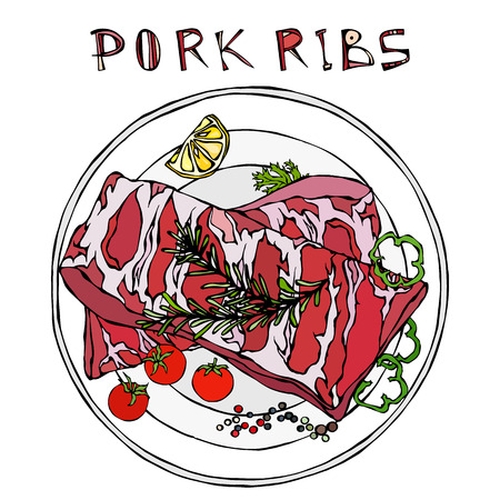 Pork Ribs with Rosemary Herb, Pepper, Lemon, Bell Pepper and Tomato. On a Round Plate. Meat Guide for Butcher Shop or Steak House Restaurant Menu. Hand Drawn Illustration. Doodle Style