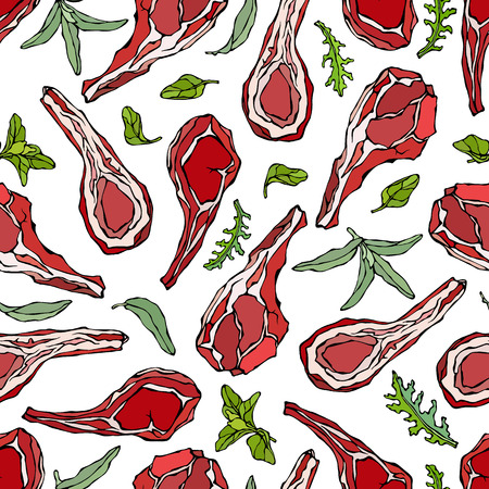 Seamless Endless Pattern with Lamb Ribs or Rack of Lamb, Savory, Marjoram, Arugula Herbs. Meat Guide for Butcher Shop or Steak House Restaurant Menu. Hand Drawn Illustration. Doodle Style Vectores