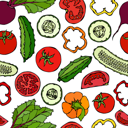 Vector Vegetable Seamless Pattern with Cucumbers, Red Tomatoes, Bell Pepper, Beet. Fresh Green Salad. Healthy Vegetarian Food. Hand Drawn Illustration. Doodle Style