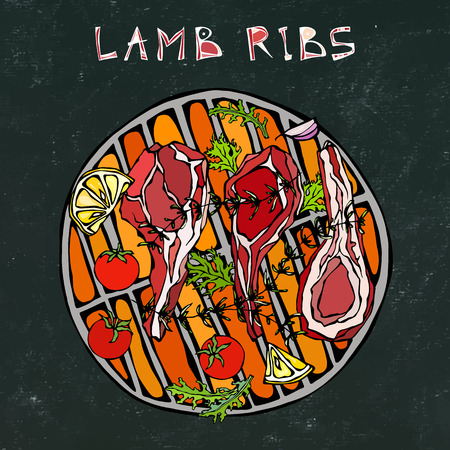 Lamb Ribs Chops with Herbs, Lemon, Tomato, Parsley, Thyme, Pepper. On a Round Grill BBQ. Meat Steak House Restaurant Menu. Hand Drawn Illustration. Doodle Style. Black Board Background and Chalk