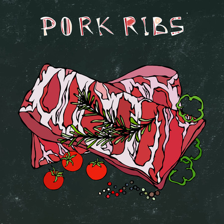 Pork Ribs with Rosemary Herb, Pepper, Bell Pepper and Tomato. Meat Guide for Butcher Shop or Steak House Restaurant Menu. Hand Drawn Illustration. Doodle Style. Black Board Background and Chalk