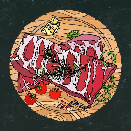 Pork Ribs with Rosemary Herb, Pepper, Lemon, Bell Pepper and Tomato. On a Round Wooden Cutting Board. Steak House Restaurant. Hand Drawn Illustration. Doodle Style.Black Board Background and Chalk