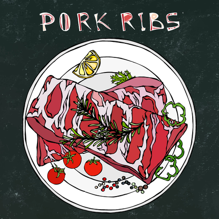 Pork Ribs with Rosemary Herb, Pepper, Lemon, Bell Pepper and Tomato. On a Round Plate. Meat Shop or Steak House Restaurant Menu. Black Board Background and Chalk. Hand Drawn Illustration. Doodle Style Illustration