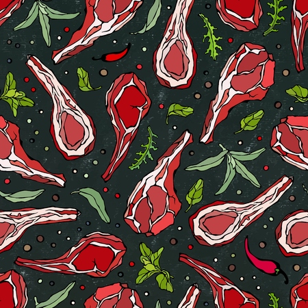 Seamless Endless Pattern with Lamb Ribs or Rack of Lamb, Savory, Marjoram, Arugula, Pepper. Meat Shop or Steak Restaurant Menu. Hand Drawn Illustration. Doodle Style. Black Board Background and Chalk