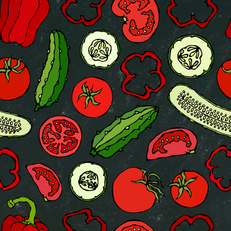 Vector Vegetable Seamless Pattern with Mini Cucumbers, Red Tomatoes, Bell Pepper. Fresh Green Salad. Healthy Vegetarian Food. Hand Drawn Illustration. Doodle Style. Black Board Background and Chalk