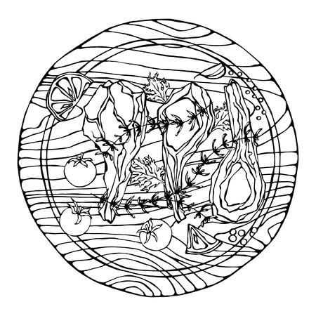 Lamsribbetjes met kruiden, citroen, tomaat, peterselie, tijm, peper. Op een ronde houten snijplank. Vleesgids voor slagerij of steakhouse-restaurantmenu. Hand getrokken illustratie. Doodle stijl Stockfoto - 103457782