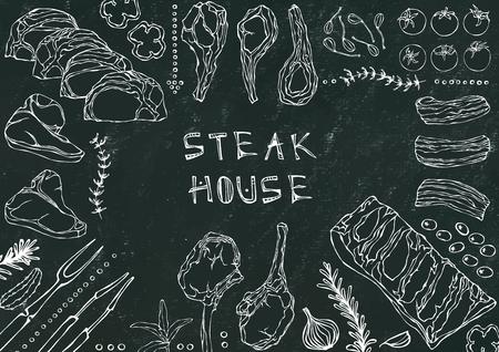 Steak House. Meat Cuts - Beef, Pork, Lamb, Steak, Boneless Rump, Ribs Roast, Loin and Rib Chops. Tomato, Olives, Bell Pepper, Onion,Garlic Herbs Fork Tongs Black Board Background and Chalk