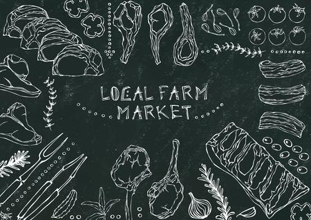 Local Farm Market. Meat Cuts - Beef, Pork, Lamb, Steak, Boneless Rump, Ribs Roast, Loin and Rib Chops. Tomato, Olives, Bell Pepper, Onion,Garlic, Herbs Fork Tongs Black Board Background and Chalk