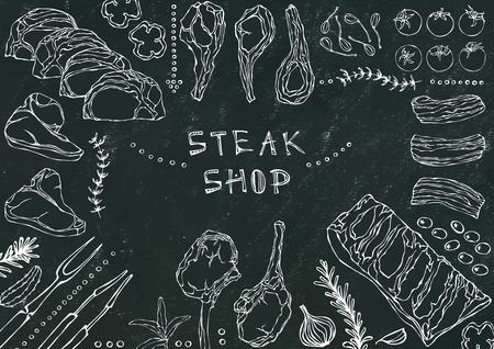 Steak Shop. Meat Cuts - Beef, Pork, Lamb, Steak, Boneless Rump, Ribs Roast, Loin and Rib Chops. Tomato, Olives, Bell Pepper, Onion,Garlic Herbs Fork Tongs Black Board Background and Chalk Ilustração