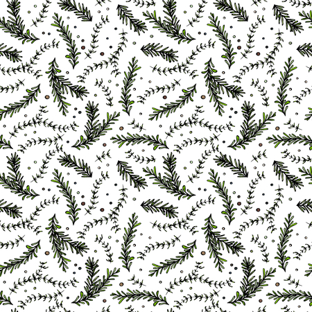 Pepper, Rosemary and Thyme Seamless Endless Vector Background. Fresh Green Herbs for Meat, Steak or Seafood Cooking. Hand Drawn Illustration. Doodle Style Ilustração