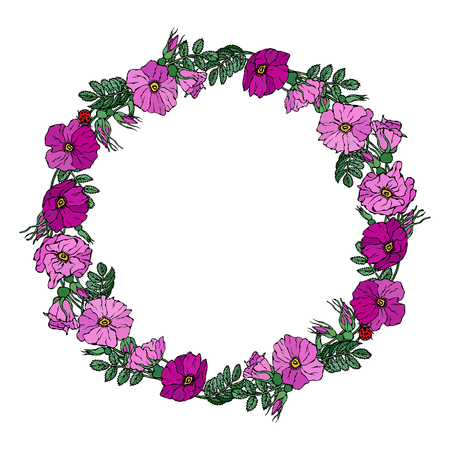 Round Frame with Wild Roses. Summer Flowers Greeting Card or Wedding Background. Hand Drawn Illustration. Doodle Style