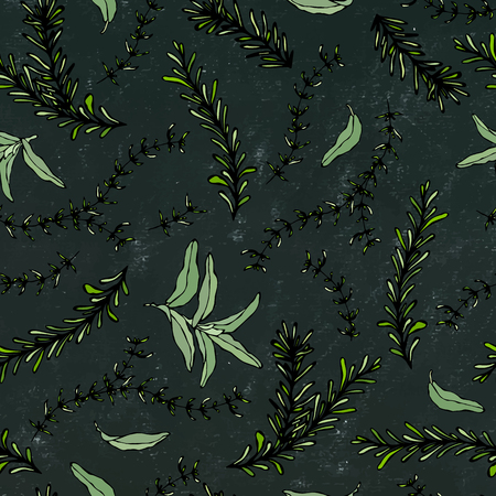 Seamless Endless Pattern of Rosemary Branch and Sage. Background with Aromatic Healing Herb. Steak Meat Spice. Hand Drawn Illustration. Savoyar Doodle Style. Black Board Background and Chalk