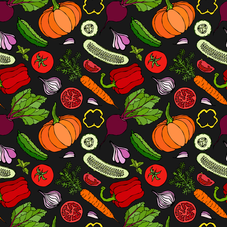 Vegetable Seamless Pattern with Cucumbers, Red Tomatoes, Bell Pepper, Beet, Carrot, Onion, Garlic, Chilli, Pumpkine. FoodHand Drawn Illustration. Doodle Style Black Board Background and Chalk