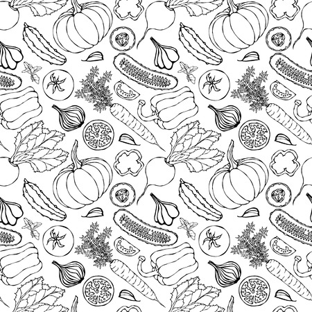 Vegetable Seamless Pattern with Cucumbers, Red Tomatoes, Bell Pepper, Beet, Carrot, Onion, Garlic, Chilli, Pumpkine. Fresh Green Salad. Healthy Vegetarian Food. Hand Drawn Illustration. Doodle Style