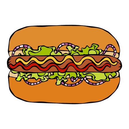Hotdog. Bun, Sausage, Ketchup, Mustard, Salad Leave Herbs, Red Onion. Fast Food Collection. Hand Drawn High Quality Traced Vector Illustration. Doodle Style