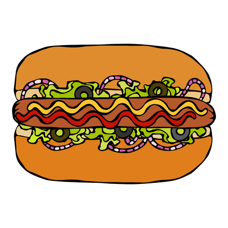 Hotdog. Bun, Sausage, Ketchup, Mustard, Salad Leave Herbs, Red Onion, Olives. Fast Food Collection. Hand Drawn High Quality Traced Vector Illustration. Doodle Style