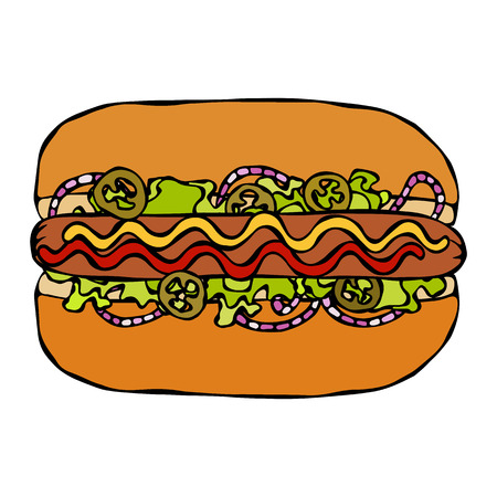 Hotdog. Bun, Sausage, Ketchup, Mustard, Salad Leave Herbs, Red Onion, Jalapeno Pepper. Fast Food Collection. Hand Drawn High Quality Traced Vector Illustration. Doodle Style